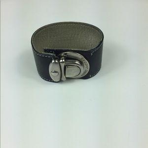 Marc Jacobs black leather push lock cuff bracelet
